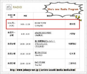 Sakurai Sho's new Radio promgram